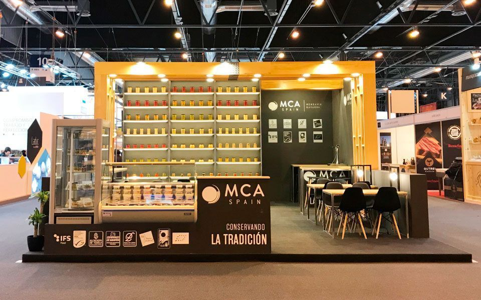 Exhibition Stand for MCA Spain, Gourmets fair, frontal view